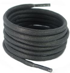 4 mm round Hiking Boot Laces Black with Lime Green Flecks